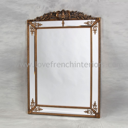 Gold French Crested Mirror